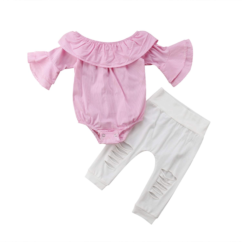 2PCS Set Toddler Kids Newborn Baby Girl Off Shoulder Flare Sleeve Pink Striped Romper Tops+Hole Pant