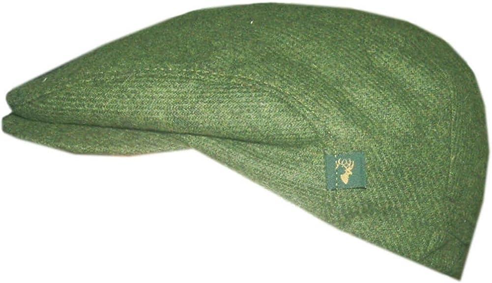 Mucros Weavers Mens Donegal Tweed Cap Green