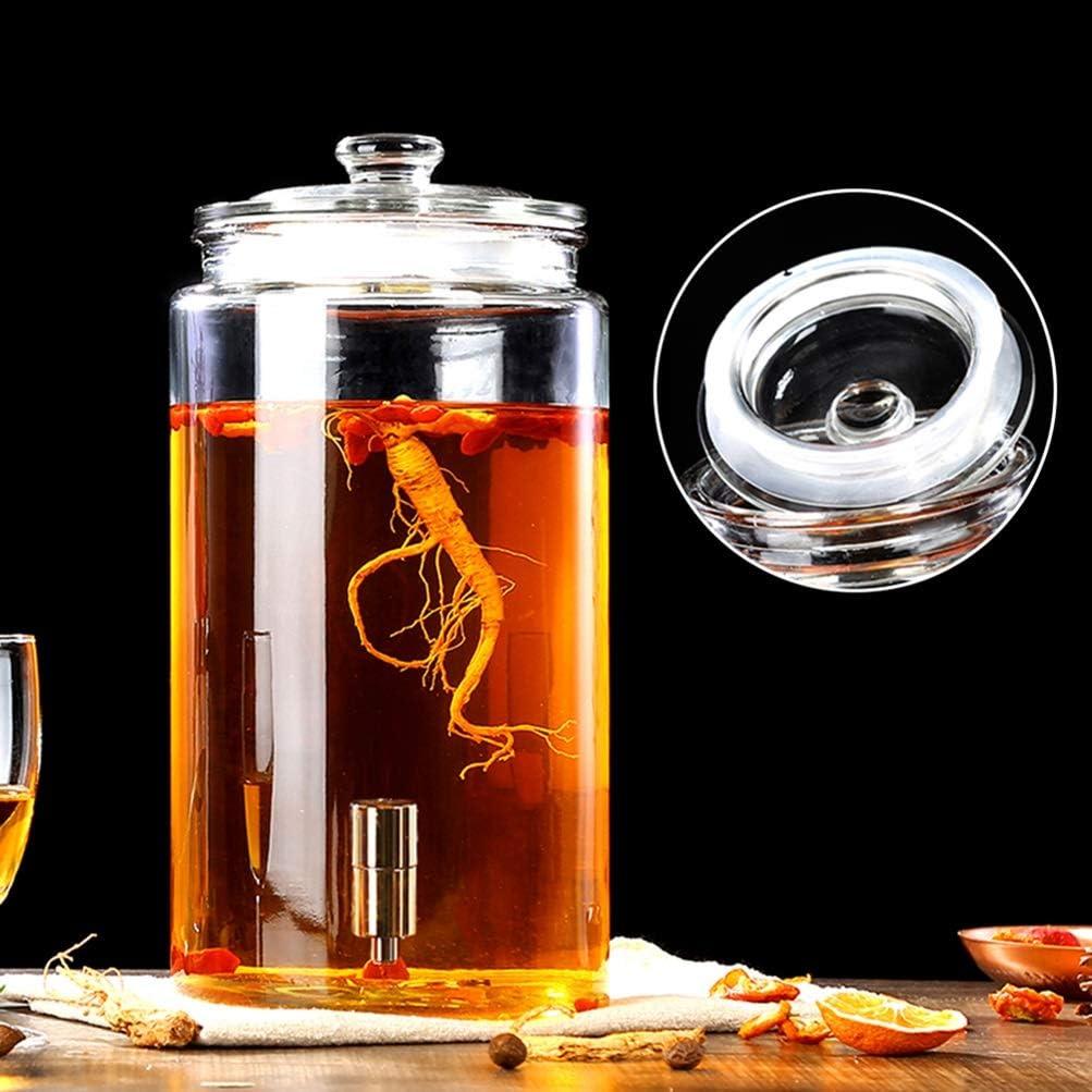 HYXQYJP Mason Jar Beverage Dispenser Leak Free Spigot Glass Lid Glassware for Cold Water/Juice/Beer/Wine, Liquor/Cold Drink (Color : 7.5L, Size : Copper Spigot)