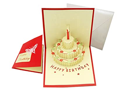 Amazoncom Happy Birthday Cake Pop Up Greeting Card Office Products