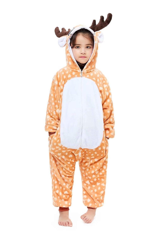 Kids Animal Onesie Cartoon Pajamas Christmas Halloween Cosplay Costume 3-8 Years