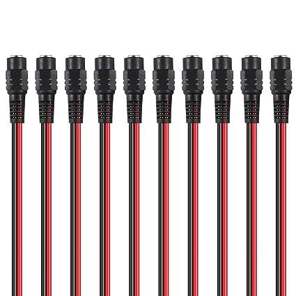 Hosyl hembra rojo negro DC Cable de alimentación coletas adaptador ...