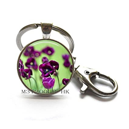 Llavero de flor morada con diseño de flor y cristal, llavero ...