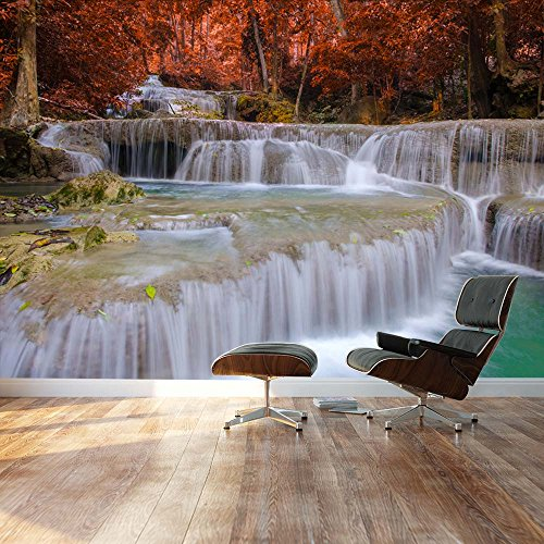 Secluded waterfall surrounded by red autumn trees Landscape Wall Mural