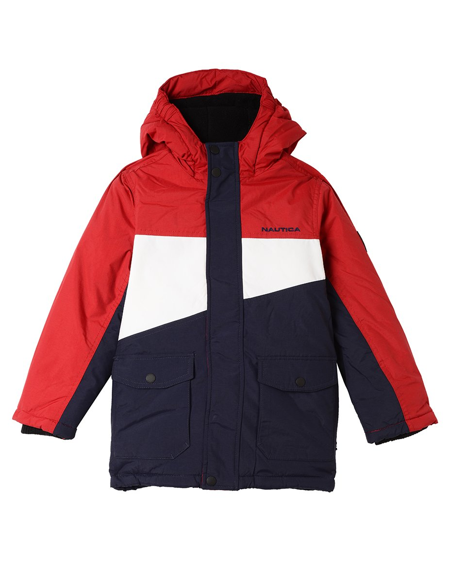Nautica Boys' Big Colorblock Snorkel Jacket, red Rouge