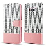 EYZUTAK Magnetic Case for Samsung Galaxy S6 - Bling Glitter Wave Pattern - PU Leather Flip Wallet Stand Cover with TPU Inner Credit Card Holder Case for Samsung Galaxy S6 - Rose Gold