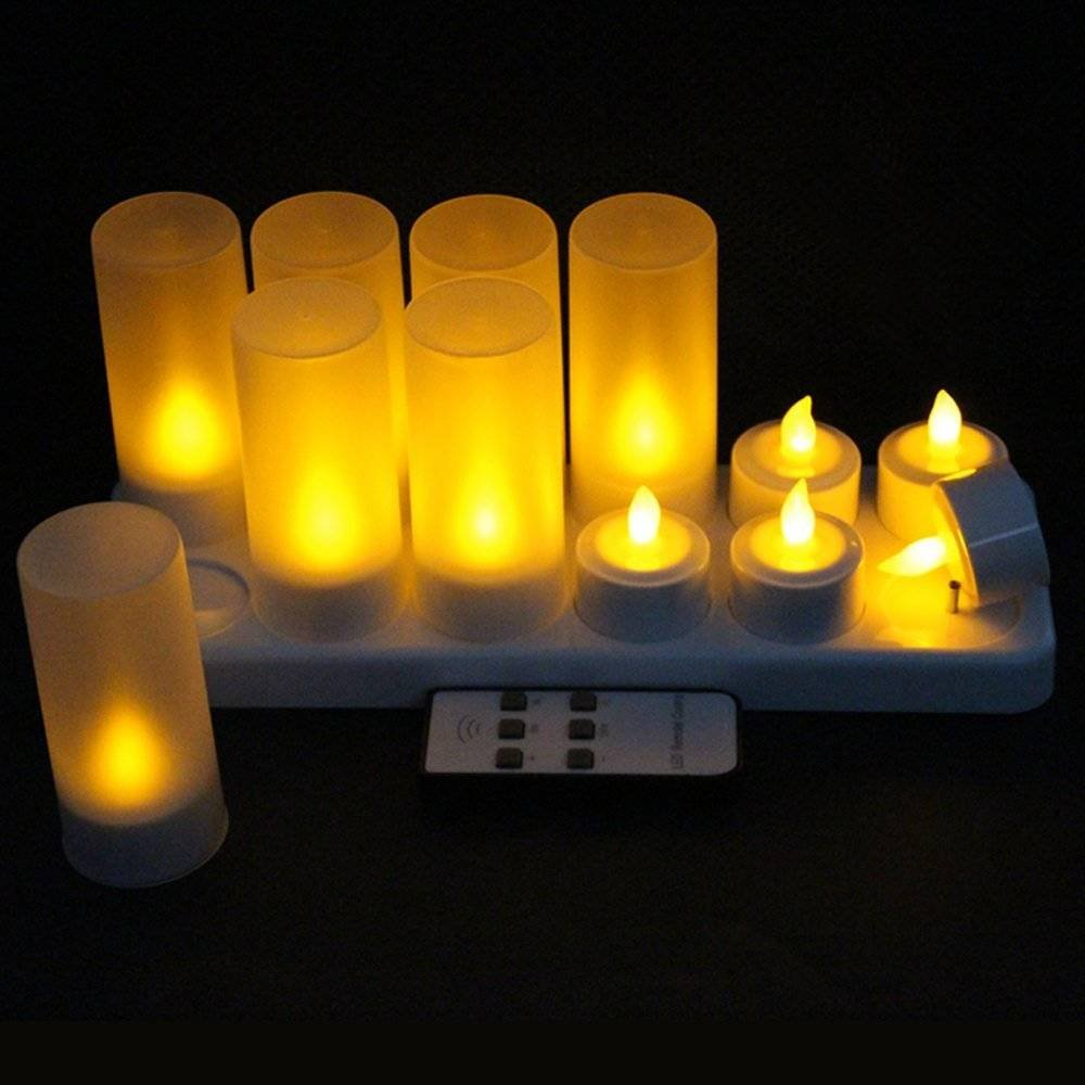 Wiederaufladbare Kerzen Kerzen Kerzen Teelicht, Ein Set von 12 LED Flammenloses Teelicht Mit Ladestation, Für Festivals Hochzeiten Party Romantisches Bekenntnis Weihnachtsgeburtstag Dekoration (Mit Fernbedienung) df5cfc