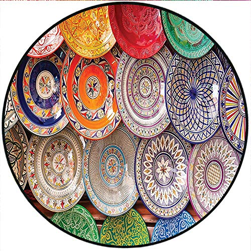 Short Plush Round Rug Moroccan Traditional Arabic Handcrafted Colorful Plates Shot at Market in Marrakesh Color Living Room Coffee Table 23.6