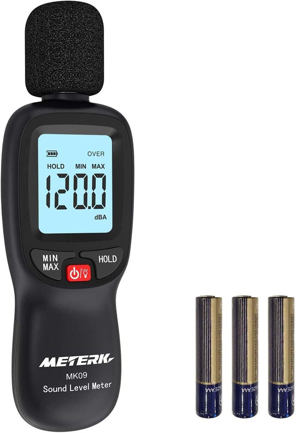 Medidor de Sonido, Meterk 30-130dB (A) LCD Digital Medidor de Volumen de Ruido Medidor de Monitoreo de Decibelios