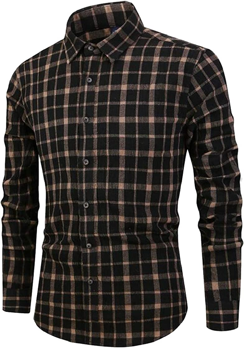 Lutratocro Men Washed Flannel Plaid Curved Hem Slim Fit Button Down Shirts