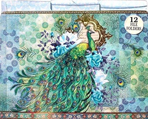 Punch Studio Decorative 1/3 Top Tab File Folders Set of 12 ~ Blue Rose Emerald Peacock 61202 ()