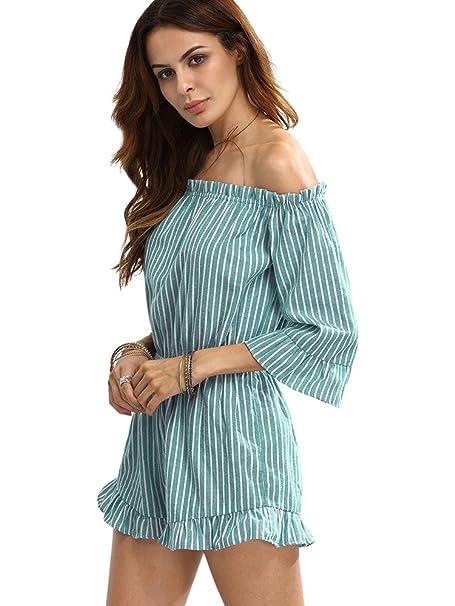 c7afce4eda55 Amazon.com  Romwe Women s Casual Cute Striped Off The Shoulder Ruffle Hem  Short Romper Jumpsuit  Clothing