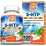 BRI Nutrition 5 HTP 100mg 120 Vegetarian Capsules : Supports Depression & Anxiety Relief/Boosts Serotonin Production/Sleep Aid Supplement