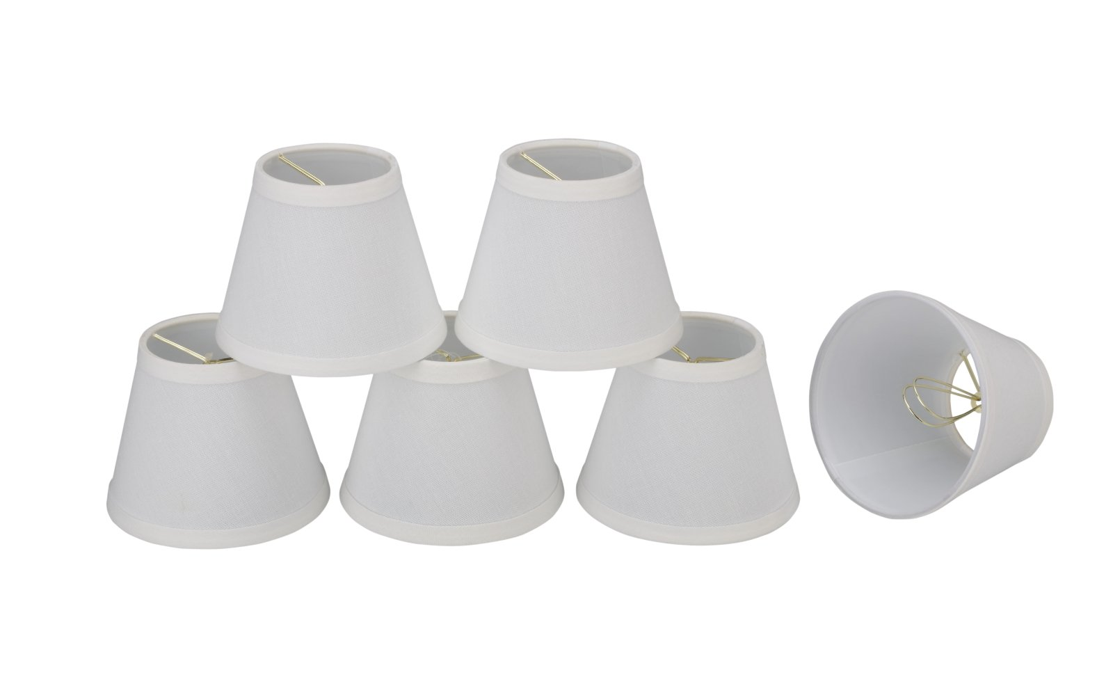 32060-6 Small Hardback Empire Shape Chandelier Clip-On Lamp Shade Set (6 Pack), Transitional Design in White, 5'' bottom width (3'' x 5'' x 4'') by Aspen Creative