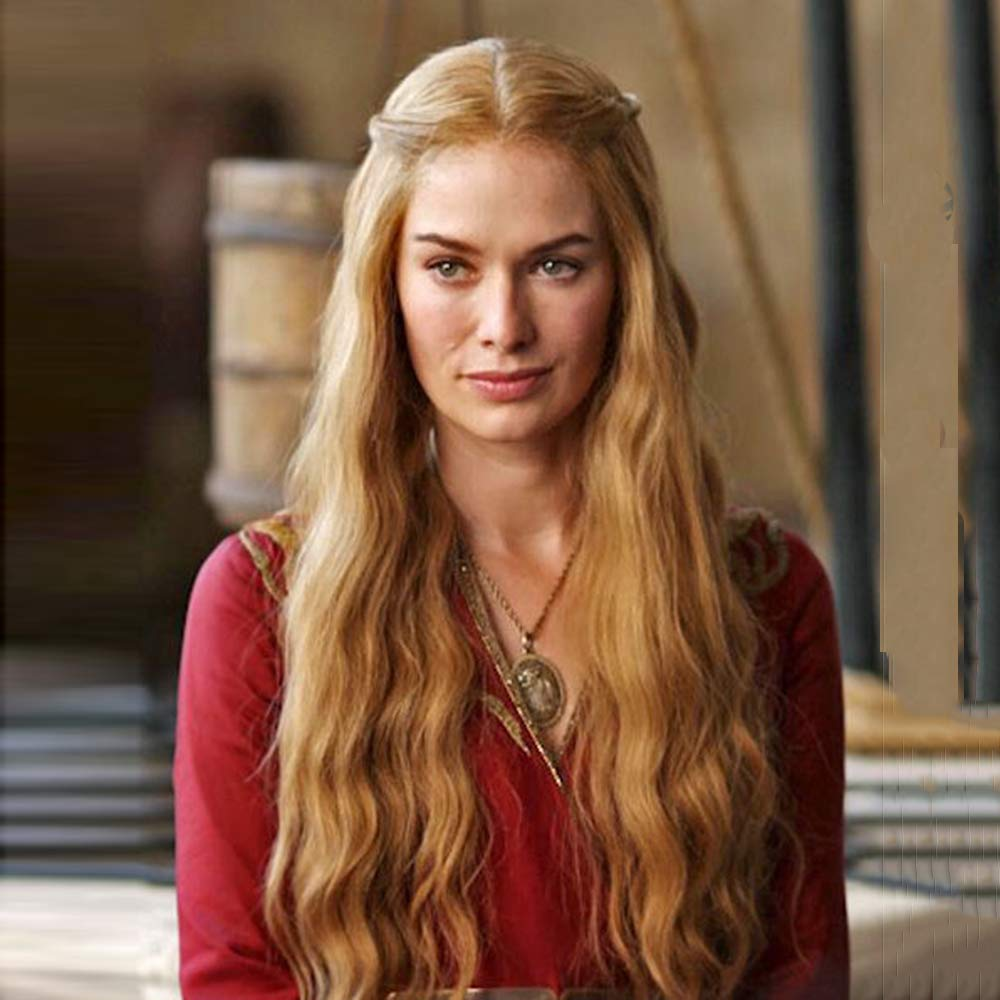 Amazon Com Rdy Blonde Long Wavy Lace Front Wigs Heat Friendly Synthetic Gold Hair Half Hand Tied Cersei Lannister Cosplay Wig For Women 150 Density 26 Inch Beauty