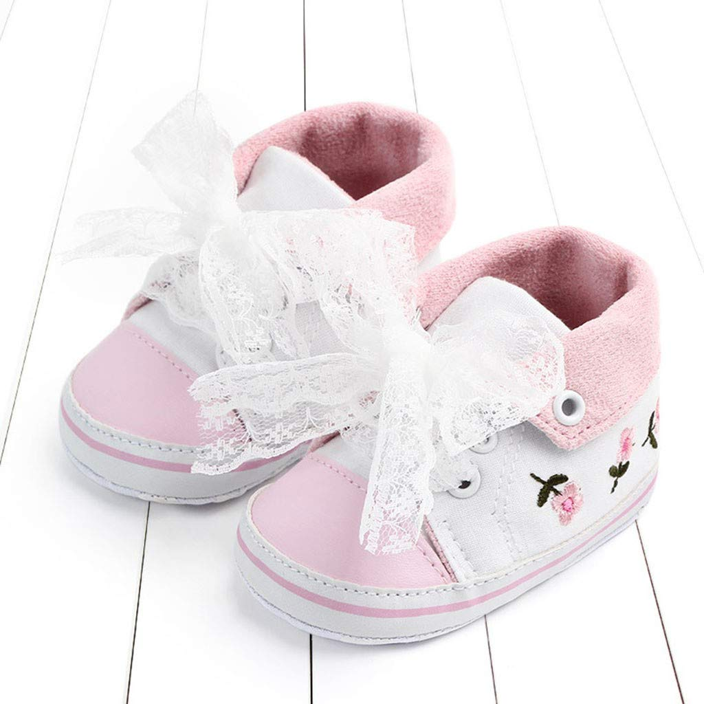 Voberry@ Baby Girl Canvas Sneaker Toddler Flower Lace Shoes Anti-Slip Infant First Walkers