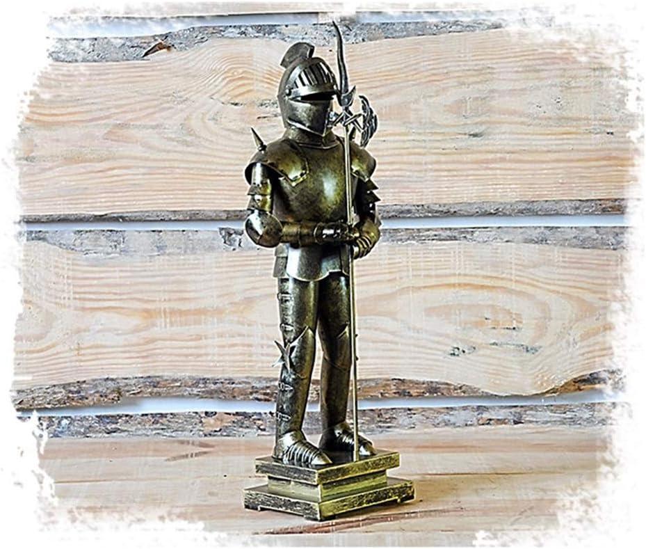 SDBRKYH Escultura Medieval de Armadura, Antiguo Soldado Romano Estatua Caballero Guerrero Escultura Modelo Retro Artesanías de Hierro de Escritorio