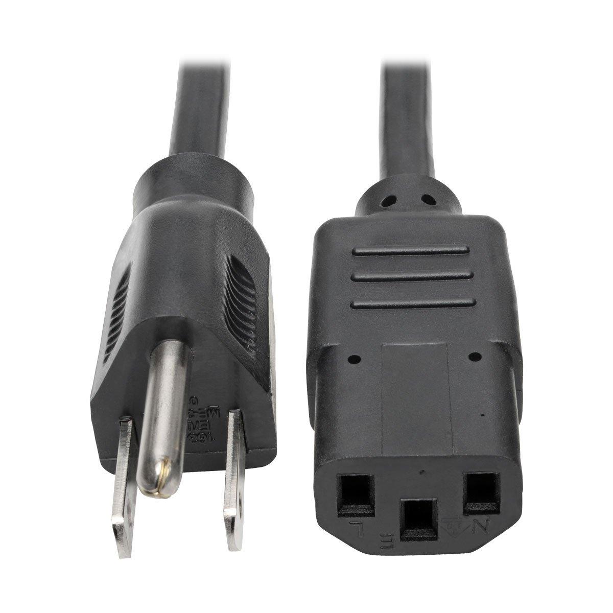 Tripp Lite Standard Computer Power Cord 10A,18AWG (NEMA 5-15P to IEC-320-C13) 1-ft.(P006-001)