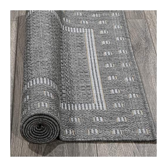 """Ottomanson Jardin Indoor/Outdoor Bordered Runner Rug, Gray, 2'X5', 20"""" x 59"""", Grey - VERSATILE: Robust construction makes it ideal for high-traffic areas indoor or outdoor. DURABLE and LONG LASTING: Power-loomed in Turkey with %100 polypropylene. LOW-PILE HEIGHT is non-shedding and ideal for homes with pets and high-traffic. - runner-rugs, entryway-furniture-decor, entryway-laundry-room - 619L0rD5x5L. SS570  -"""