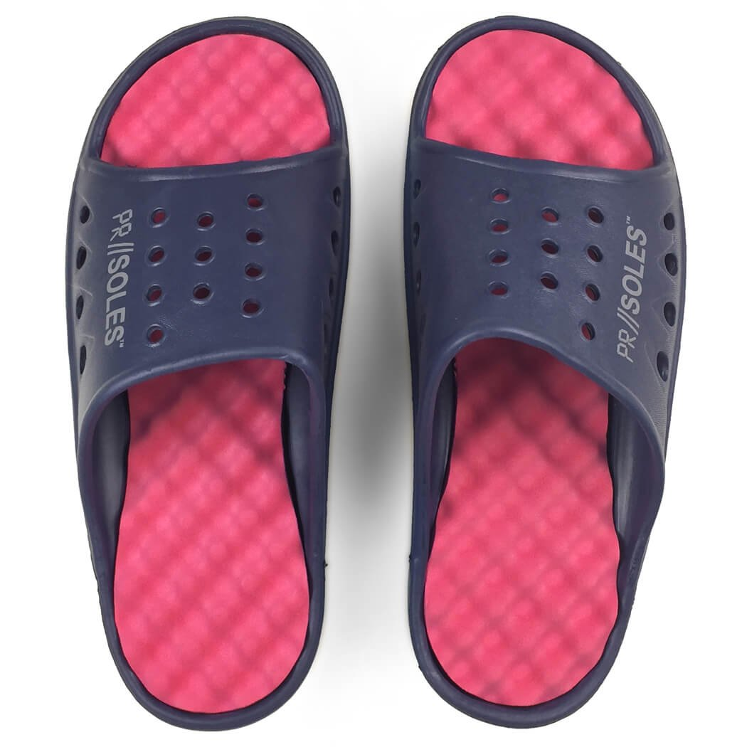 PR SOLES Recovery Sandals | Sports Glides for Men and Women | Great for Athletes | Navy Blue/Pink XXS | (W) 5 - 6.5 by Gone For a Run (Image #4)