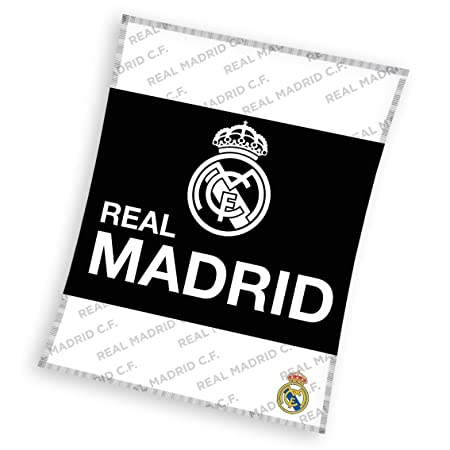 Real Madrid FC Large Fleece Blanket Throw 40 X 40 Cm WhiteBlack Stunning Real Madrid Throw Blanket