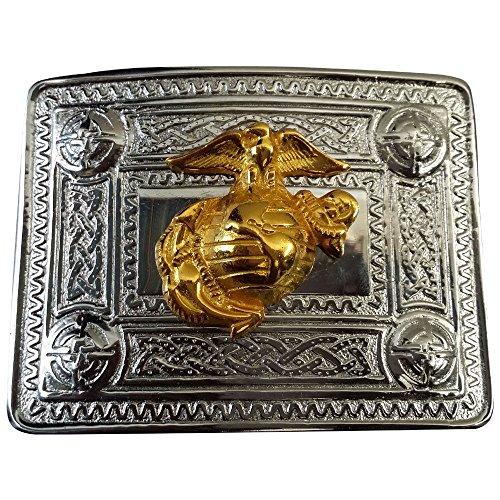 [AAR Scottish Kilt Belt Buckle Celtic Design with Gold US Marine Badge] (Design Belt Buckle)