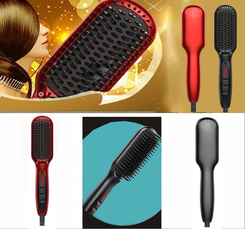 Vinmax Hair Straightener Comb,Hair Brush&Straightening Brush Hair Straightener&Electric Heating Ceramic Comb-Anti-Scald Ceramic Straightener Comb Ionic Hair Brush for All Hair Types (Black)