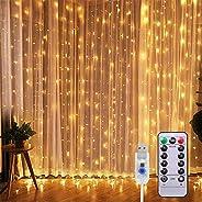 Cortina de Luces LED 3Mx3M 300LEDs, 8 Modos de lluminación, E T EASYTAO Lámparas Decorativas Impermeables para
