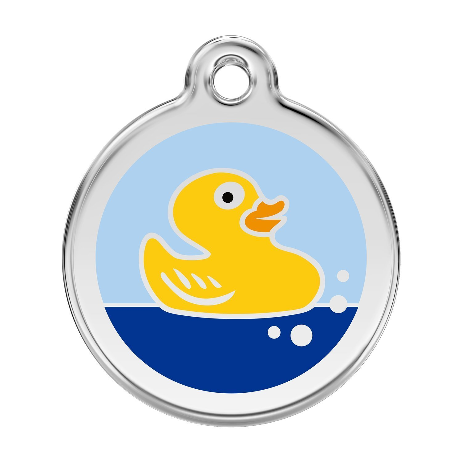 Large Red Dingo Stainless Steel with Enamel Pet I.D. Tag Rubber Duck (large)
