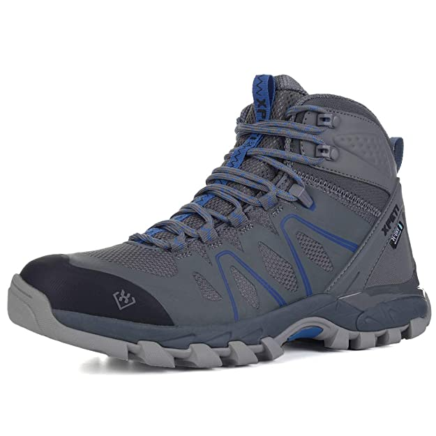 XPETI Men's Wildfire Mid Waterproof Hiking Boot Grey/Blue 9 best men's hiking shoes