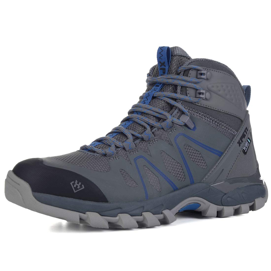 XPETI Men's Wildfire Mid Waterproof Hiking Boot Grey/Blue 10