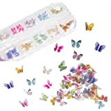 48Pcs Butterfly Acrylic Nails 3D Butterfly Nail Charms Glitter Clear Butterfly Nail Designs 2021 White Blue Colorful Butterfl