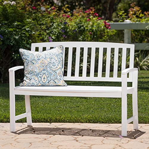 Laguna Outdoor Patio Acacia Wood Bench (White) by Great Deal Furniture