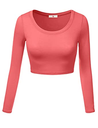 9714f035be0 Womens Crop Top Round Neck Basic Long Sleeve Crop Top - Made In USA Coral  Large