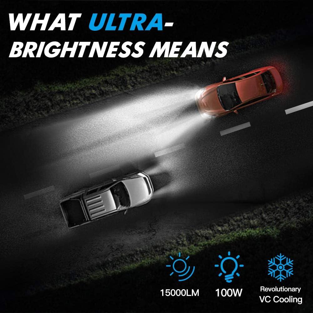 Bevinsee 9012//HIR2 LED Headlight White 100W 15000LM Bulbs Kit-VC Cooling Tech,2pcs