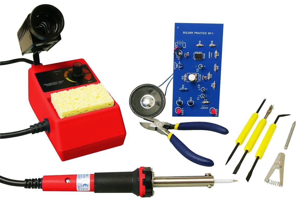 Elenco Deluxe Learn to Solder Kit | Fully Adjustable Soldering Station | Temperature Range: 350°-900°F | SL-75T2 Wedge Tip | ST-1 Side cutters | SE-1 Solder Ease Kit | SP-1A Solder Practice Kit