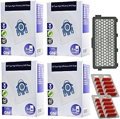 Spares2go 3d tipo GN Hyclean bolsas + filtro para aspiradora Miele S5 S5000 Serie (20 bolsas + activo filtro HEPA filtros + Micro + ambientadores): Amazon.es: Hogar