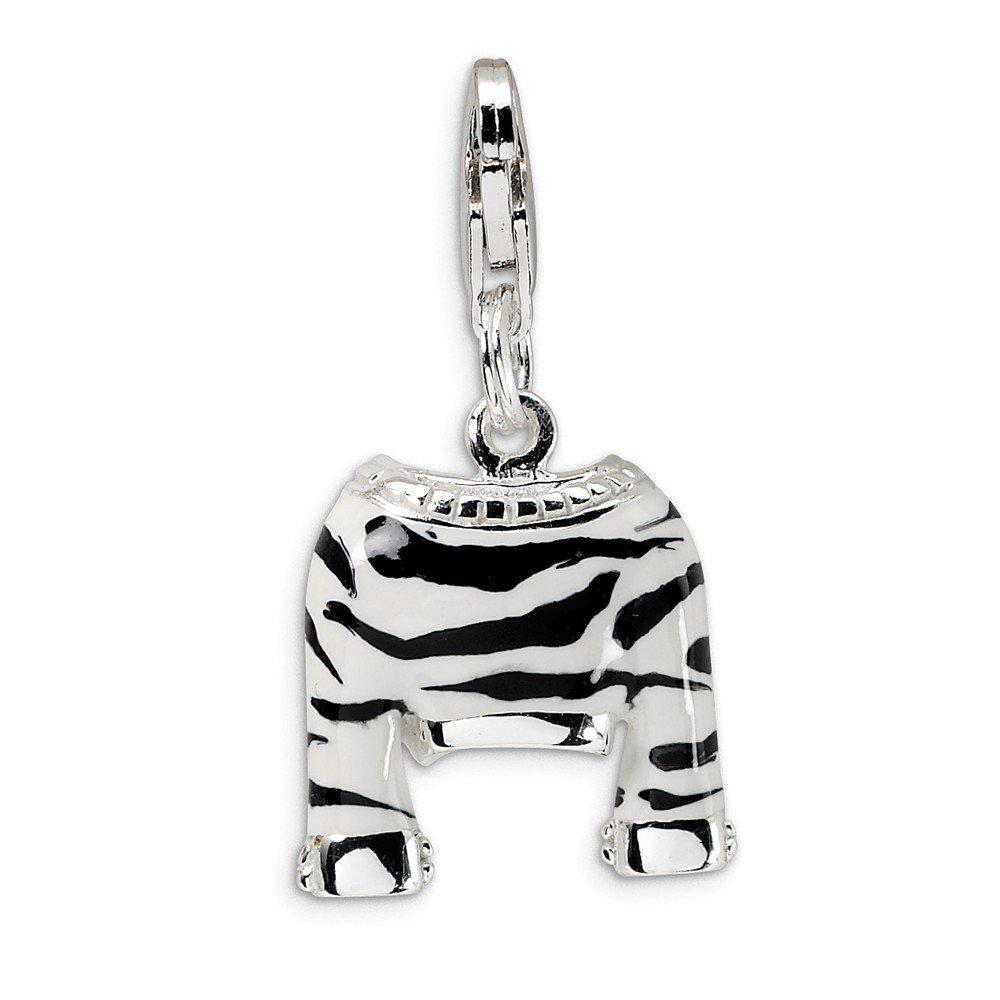 Sterling Silver CZ Polished Enamel Zebra Jacket w//Lobster Clasp Charm