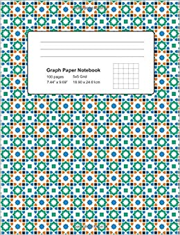 graph paper notebook 100 pages 7 44 x 9 69 5x5 grid azulejo
