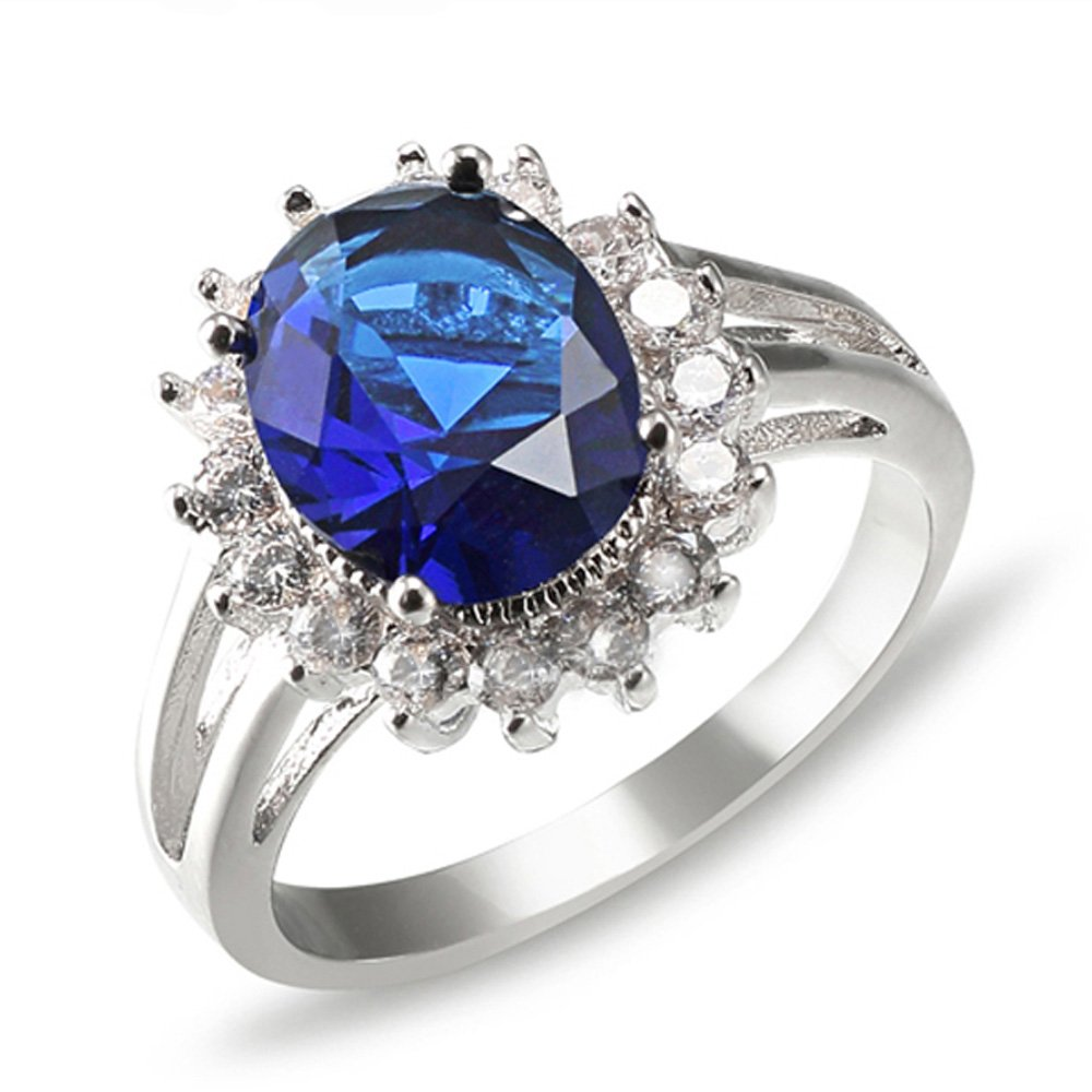Lavencious Oval Round Shaped CZ Rings Wedding Party Statement Engagement Inspired Cocktails For Woman Size 5-10 (Blue, 11)