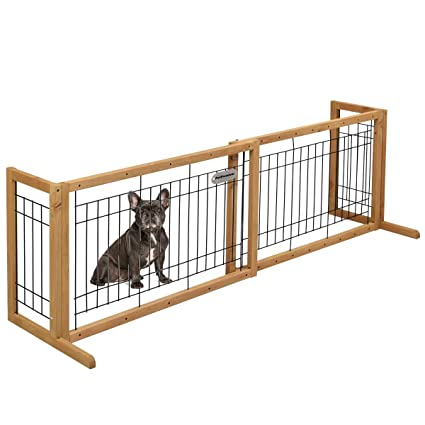 PetPremium Free Standing Pet Gates | Extra Wide Indoor Small Dog Gate |  Wooden Long