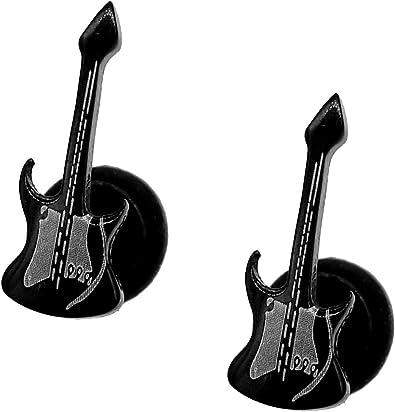 CWS – Negro Guitarra pendientes Stud Screw Back pendientes 1 pieza ...