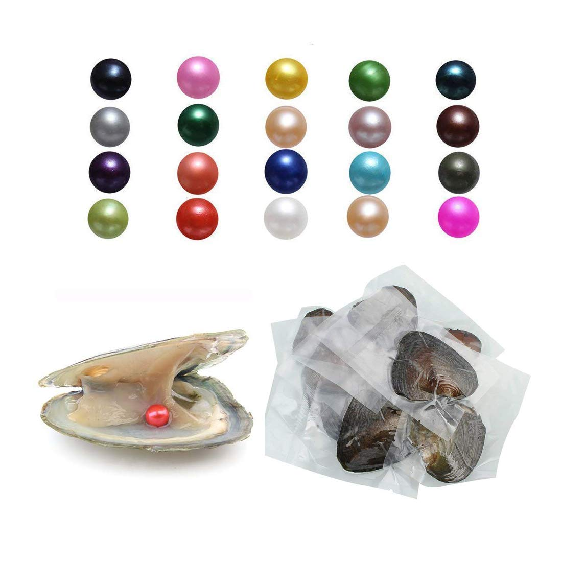 POSHOPS 50PCS Wholesale Oysters with Pearls Inside Freshwater Cultured Pearl Oysters Bulk for Christmas Pearl Party Different Colors