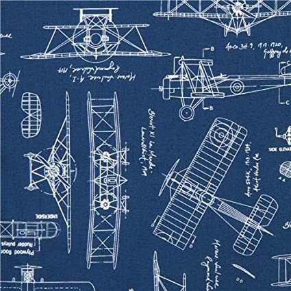 Amazon.com: blue \'Vintage Blueprints\' airplane draft plan fabric ...