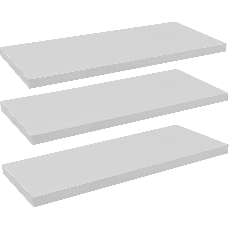 Harbour Housewares, Mensole Fluttuanti da Parete, in Legno, 120 cm, Colore Bianco - Confezione da 3