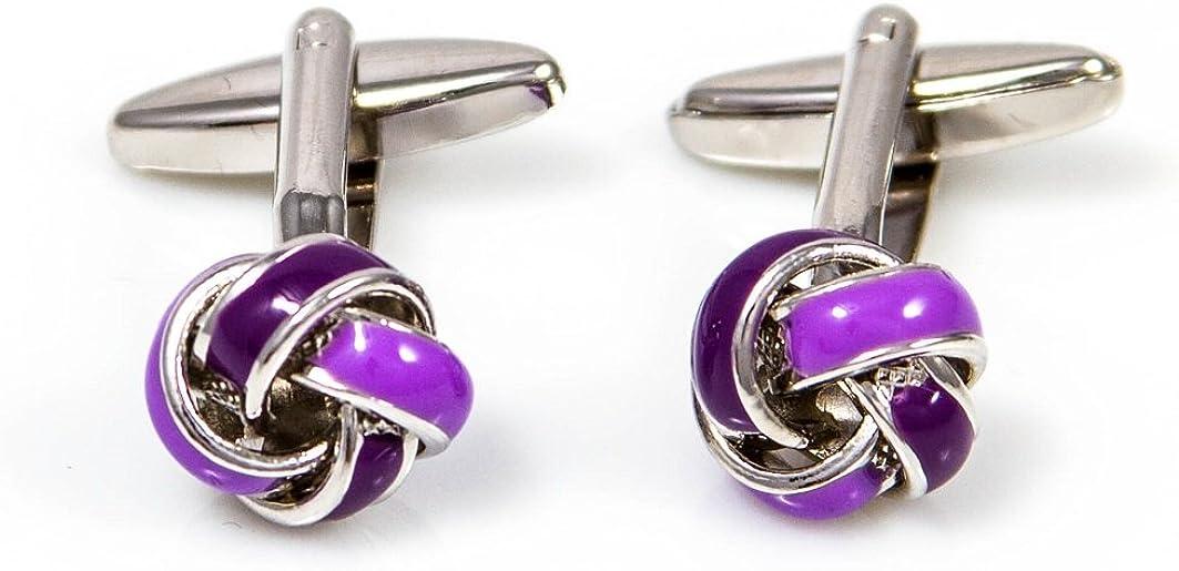 MRCUFF Presentation Gift Box Knot Purple Pair Cufflinks & Polishing Cloth