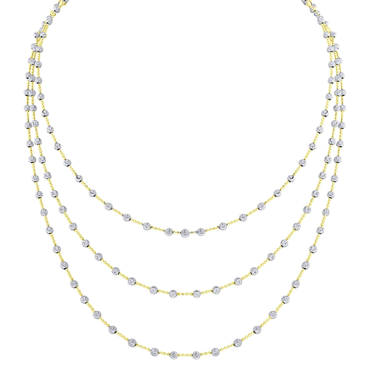 Officina Bernardi Sterling Silver 3 Row Station Necklace, 16'' with 2'' Extender (Yellow)