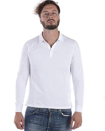 Armani Hombres Pique algodón Polo de Manga Larga Blanco XXL ...