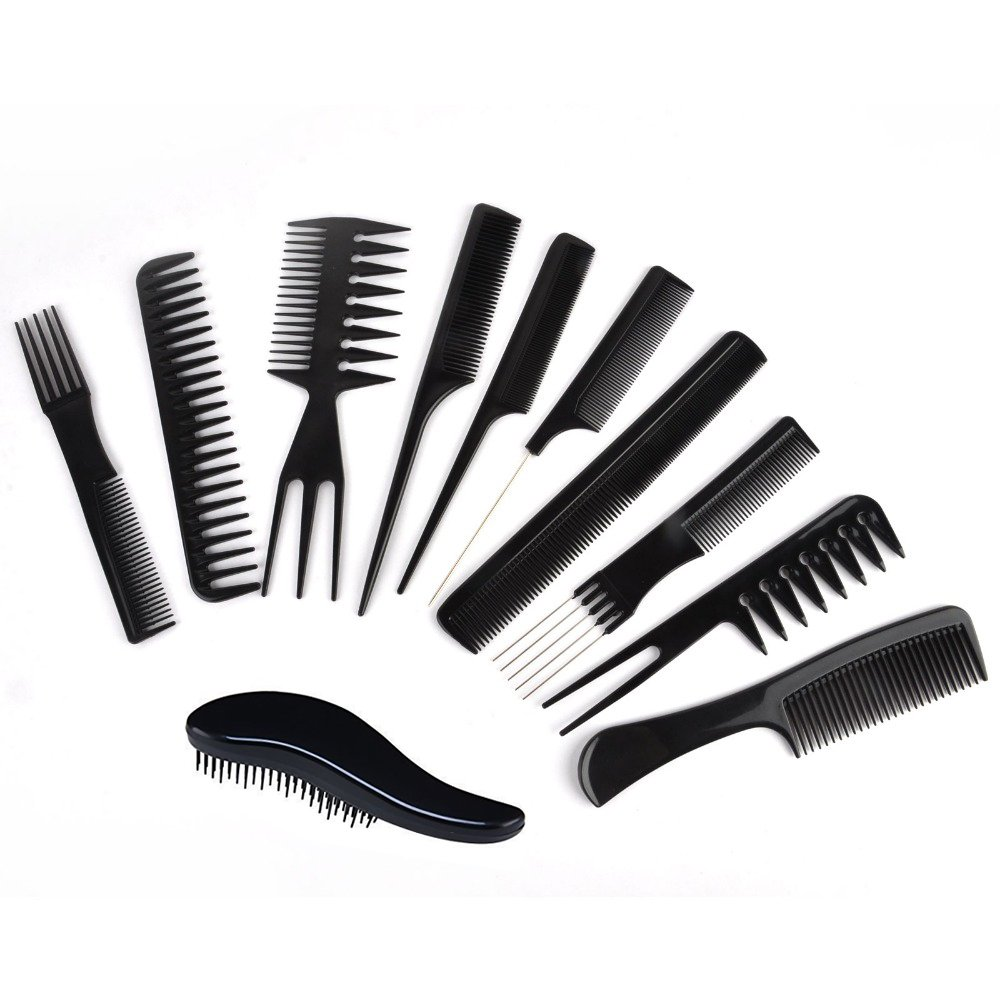 TraderPlus 11 Piece Set Professional Salon Hair Styling Hairdressing Stylists Barbers Combs Brush Black