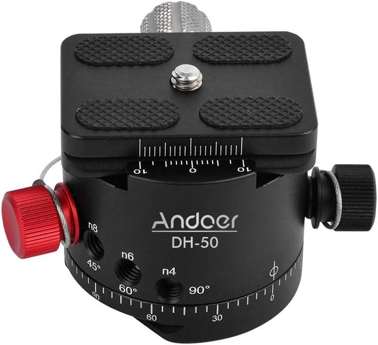 Load 22Lbs for Canon Nikon Sony DSLR Camera Andoer DH-50 Panoramic Ball Head Indexing Rotator Tripod Head Aluminum Alloy Max